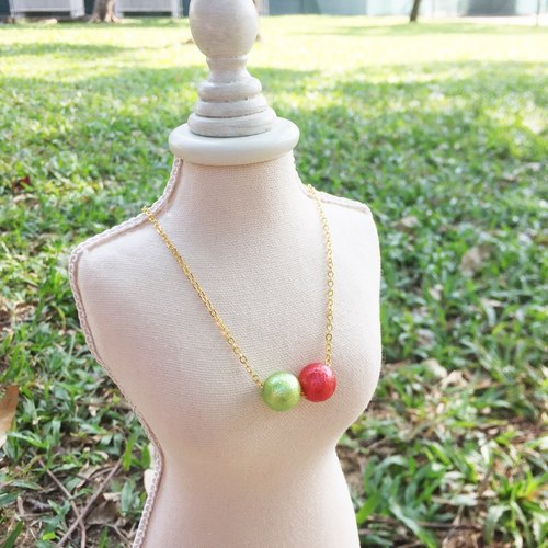 """LaPerle"" red-green cotton imitation pearl necklace 16k gold plated brass necklace Handmade Christmas gifts"