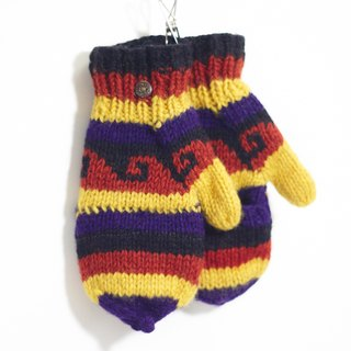 Valentine's Day gift limit a hand-woven pure wool warm gloves / 2ways gloves - Play color geometric totem