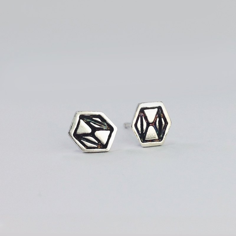 [幾何形] Mosaic Line 六六-純銀耳環