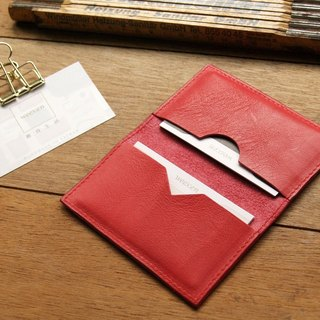 Leather Card Case ( Custom Name ) - Coral Red