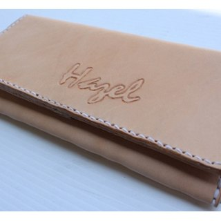 Exclusive personal original skin color pure leather long wallet - can lettering (customized Valentine, birthday gifts)