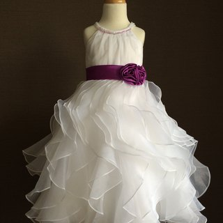 White Organza Tea Length Dress with Purple Sash