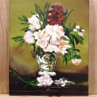 Hand-painted oil bottle peonies Peonies in a Vase (spot a)