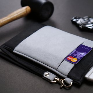 OM【BLACK X LIGHT GREY】ONOR CLEANING-FIBER CELL PHONE POUCH