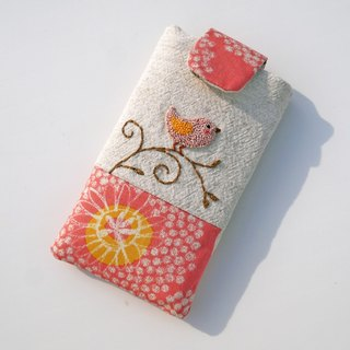 Pink Bird vines embroidered cell phone pocket (M)