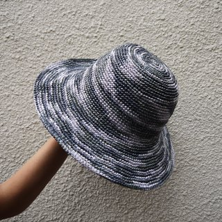 Mama の hand-made hat - Summer Zhisheng caps - foldable large circular cap - gray gradient