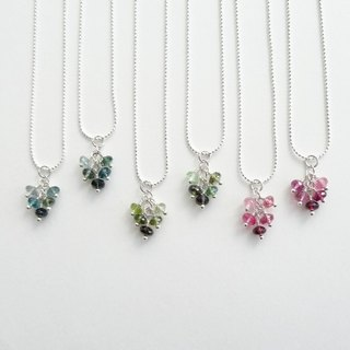Multi-Color Tourmaline Faceted Rondelle Cluster Sterling Silver Necklace