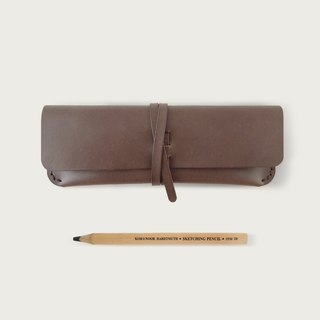 Strap pencil case / glasses case -- dark brown