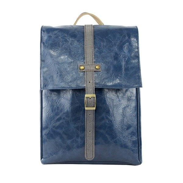 AMINAH-寶藍色皮革方形小後背包【am-0234】