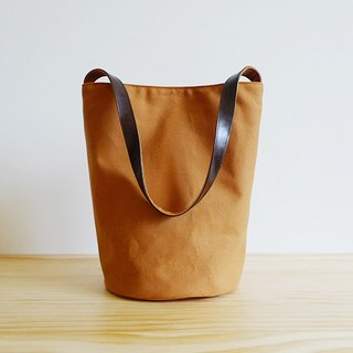 Brown canvas small bucket (round) leather put shoulder bag