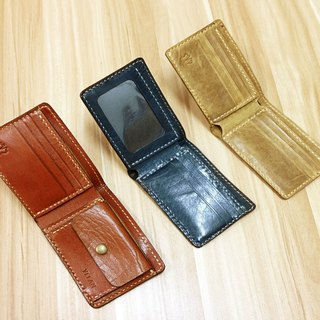 **Customized**MICO hand stitched leather short wallet / short clip / wallet / fabric (classic 2 fold)