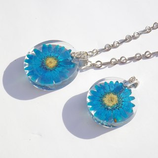 Resin Jewelry with Pressed Flowers.Handmade Resin Jewelry, Blue Daisy