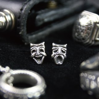 [METALIZE] cry smiling face earrings (sterling silver)