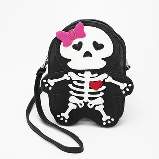 Sleepyville Critters-Skeleton with heart and bow Shoulder Crossbody Bag