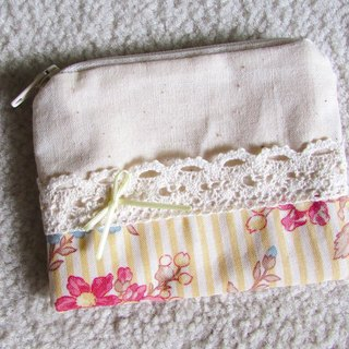 LARIO European retro flower series: yellow stripe cream flower - Purse / mini debris bag / zipper bags