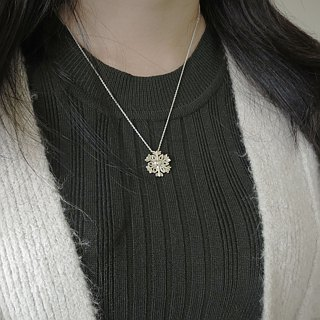 Christmas heart snowflake (925 sterling silver necklace) - C percent jewelry