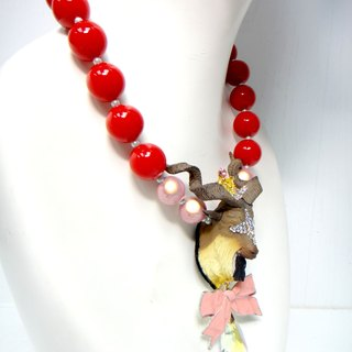 Goat head color crude bead necklace