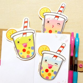 Rainbow Bubble Tea Large Stickers 3 Pieces - Laptop Stickers - Scrapbook Sticker