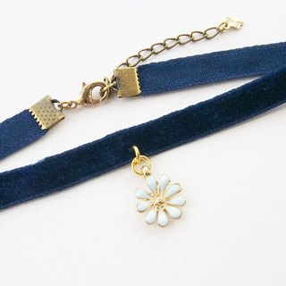Navy blue velvet choker / necklace with blue flower charm.