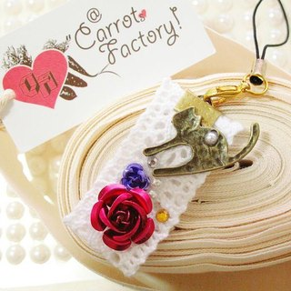 Rose flowers} {cat and flowers cat Handmade Charm