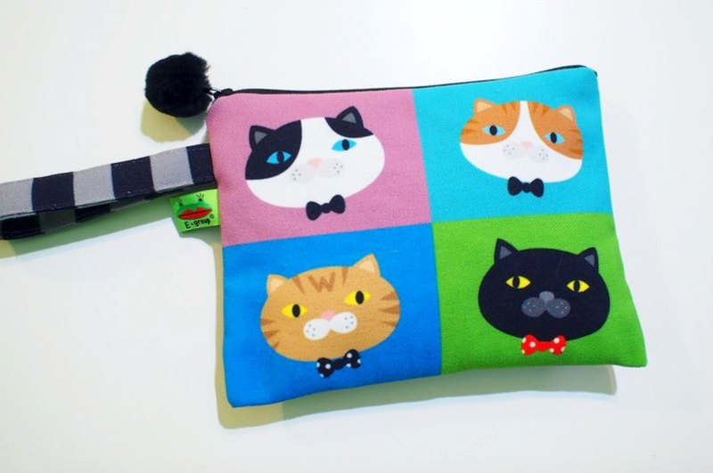 E * group box portable package (A meow fourfold) double-sided design universal admission package cat package bag cosmetic bag