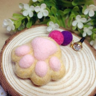 [Cream] wool felt plush fantasy healing system feet sprouting little kitty cat meat ball pads headphone plug dust plug mobile phone strap keychain orange tabby cat lovers birthday gift handmade exclusive