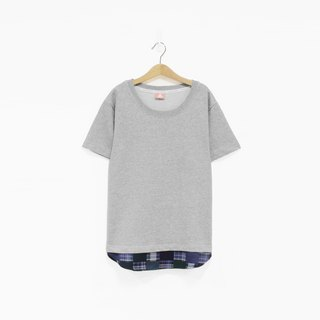 Ma gray stitching blue and green grid hem Tee - only XS number