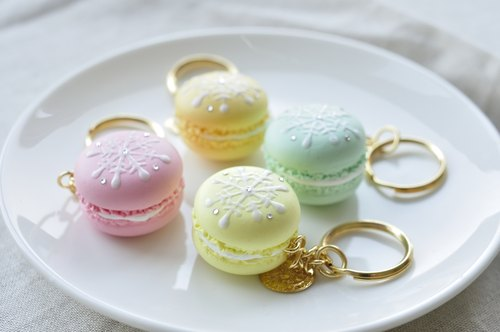 Sweet Dream ☆ ☆ Christmas snowflake gold Macaron key ring - a total of 14 colors / Wedding Accessories / exchange gifts