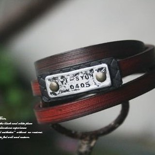 Atwill. Good days. Hand-painted studded three-layer leather lettering bracelet.