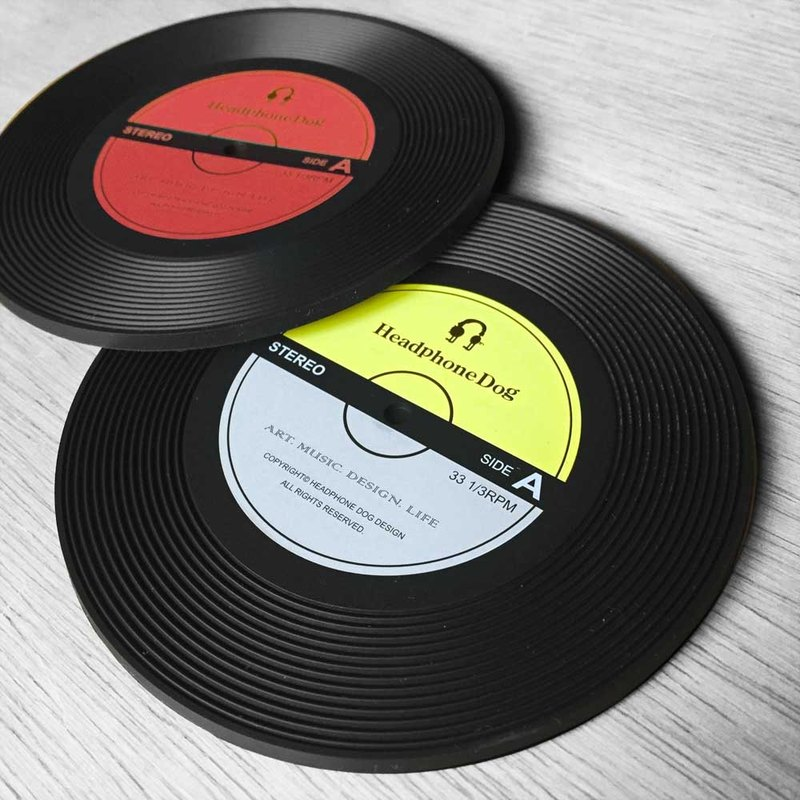 Vinyl Record silicone Coaster/Lid (2pc)