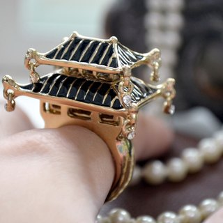 TIMBEE LO Epoxy Black Japanese Castle Ring elastic size adjuster Fashion Designer Brand