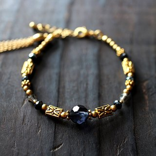 EF retro palace series NO.1 dark blue glass carved brass bracelet