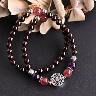 Light red pomegranate*amethyst*strawberry crystal sterling silver flower double circle bracelet