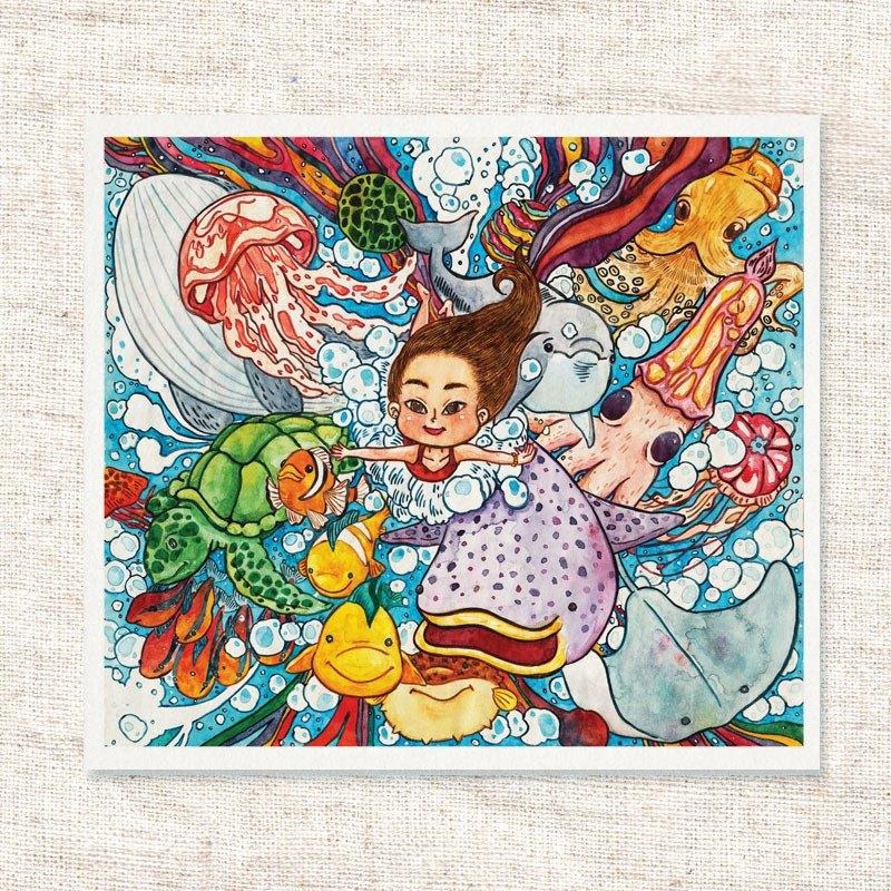 水彩手繪插畫 | 問候卡 | 畫作 | 擺飾 | 掛畫 | 明信片 | 卡片 | 複製畫【藍色啤酒海】