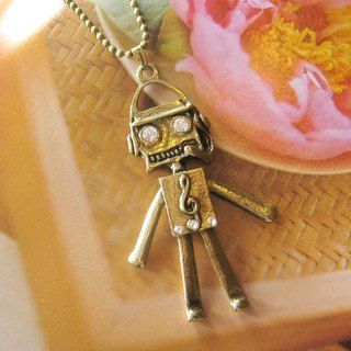 Big Robot green bronze long necklace