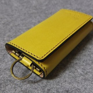 Handmade leather design leather keychain series of double-fold double sandwich mustard yellow leather Wallets K17