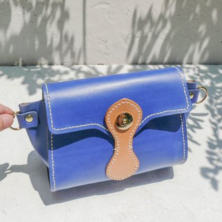 Not hit Bao blue vegetable tanned leather handmade pure leather hand bag
