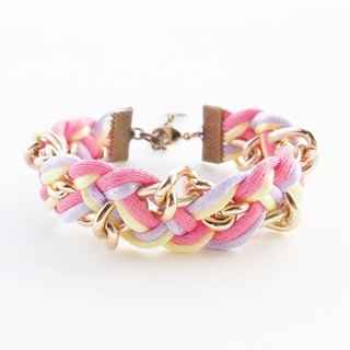 Pink yellow and lilac braided with gold chain.