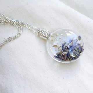 △ glass ball necklace - permanent flowers, lavender - Embrace - Limited Sold necklace