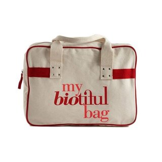 法國my biotiful bag有機棉Boston Bag-Red