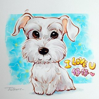 Like Yan painted _ watercolor hand-painted cartoon portraits _ pet painting (with photo frame)