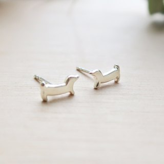 925 Silver Dog-puppy-Wiener Dog earrings-Sold as a Pair