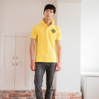 Bright yellow cotton mesh Polo shirt imprinted badge design models