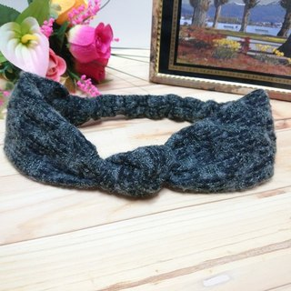 Olive green wool twist flower hair band