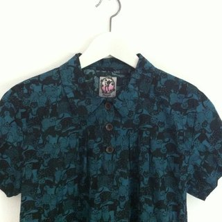 Handmade shirts with short sleeves Blue Cat Blue Cat Blouse