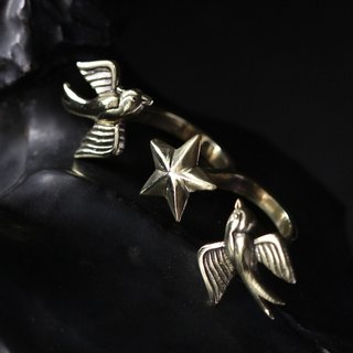 Two Swallows and Star Double Ring by Defy - Cool Statement Handmade Jewelry