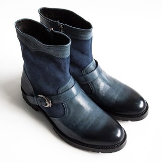 [LMdH] C1C21-39 wash the old process engineer boots zipper ENGINEER BOOTS leather motorcycle boots ‧ ‧ blue free shipping