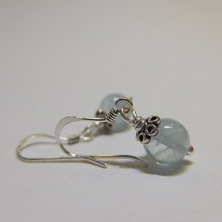 Blue language - all natural ice Aquamarine 925 sterling silver earrings Hong Kong design