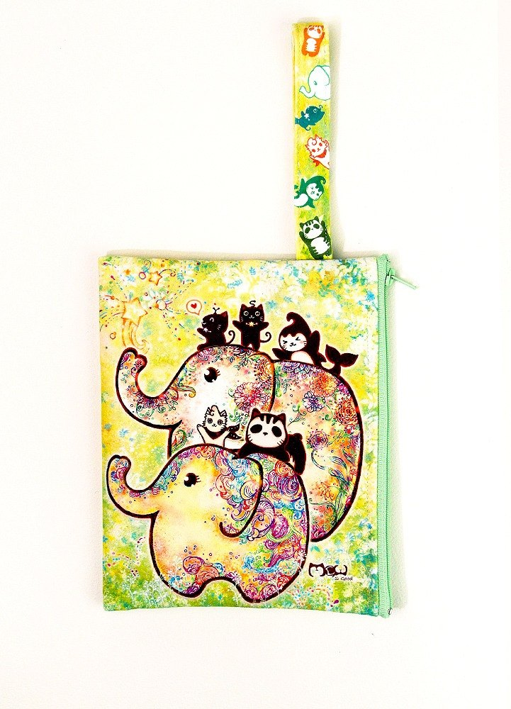 Clutch / Cosmetic Bag / small objects bag / travel carry bag - Elephant flowering