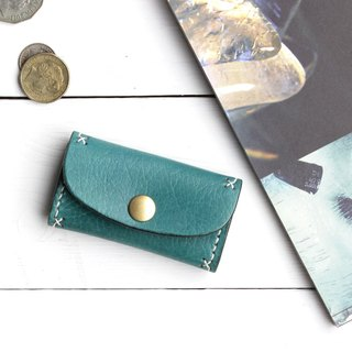 Rustic marine blue hand dyed yak leather handmade coin purse